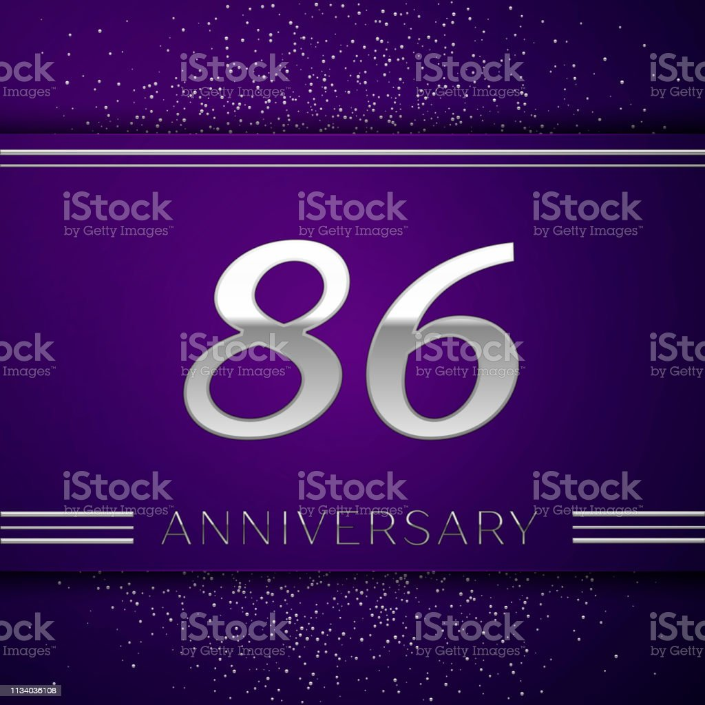 Realistic Eighty six Years Anniversary Celebration design banner. Silver number and confetti on purple background. Colorful Vector template elements for your birthday party vector art illustration