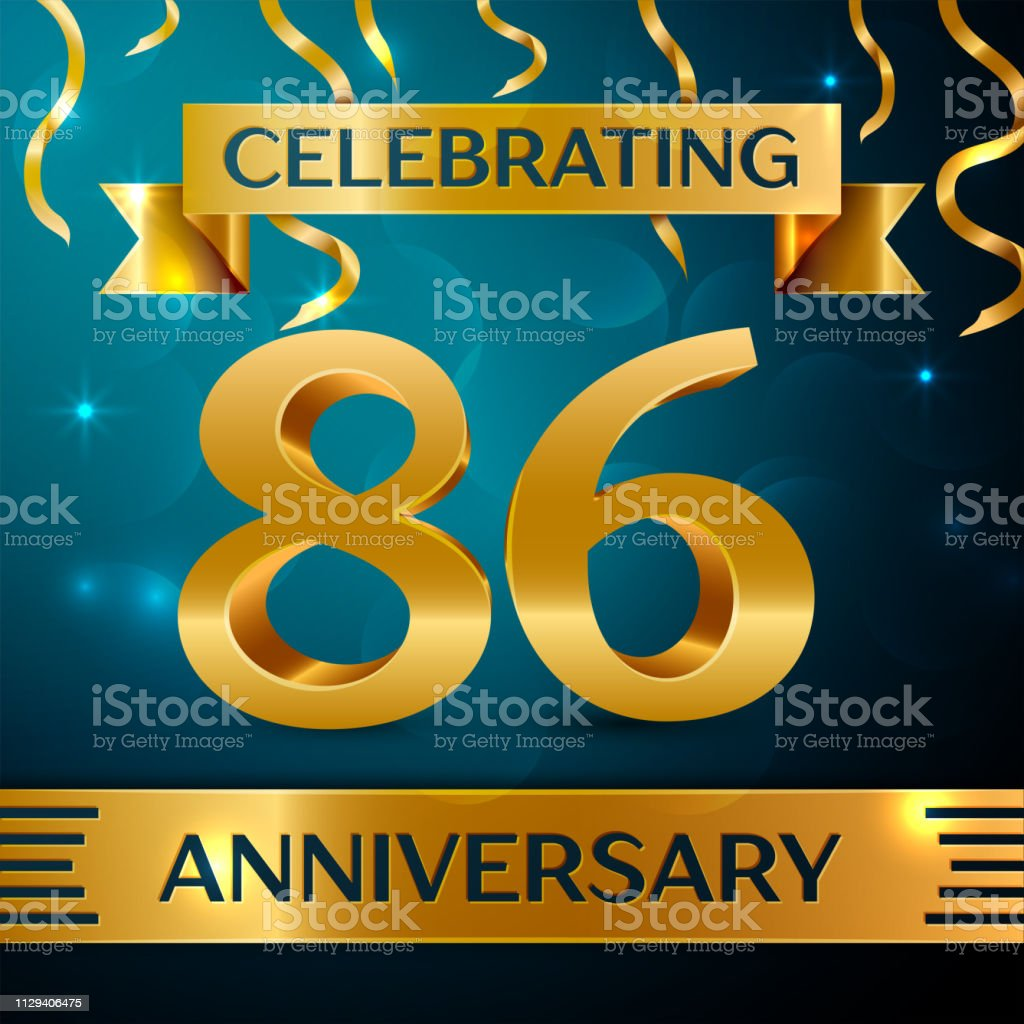 Realistic Eighty six Years Anniversary Celebration Design. Golden confetti and gold ribbon on blue background. Colorful Vector template elements for your birthday party vector art illustration