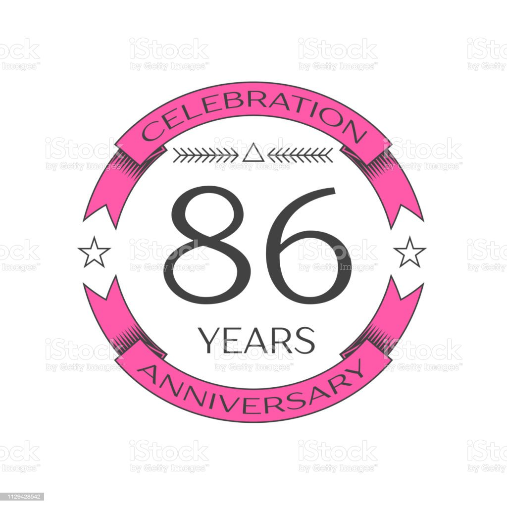 Realistic eighty six years anniversary celebration with ring and ribbon on white background. Vector template for your design vector art illustration