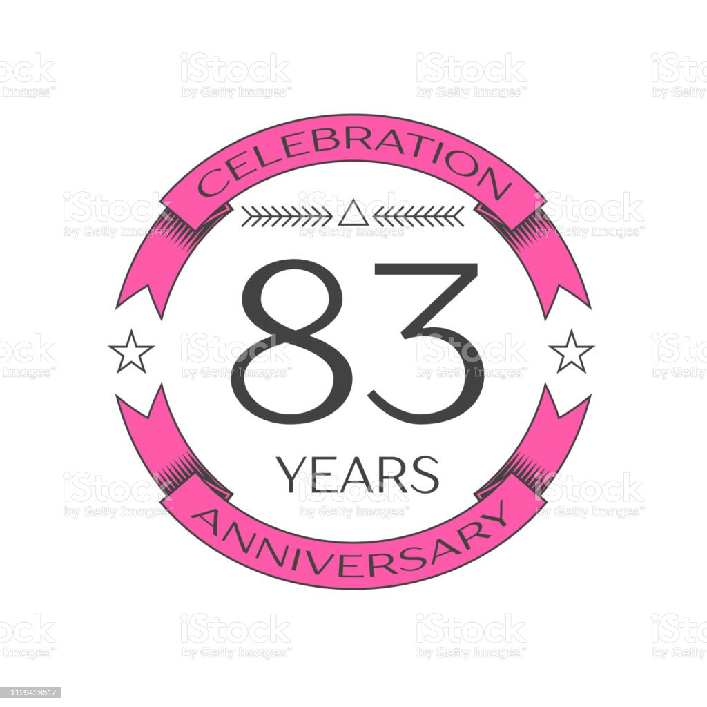 Realistic eighty three years anniversary celebration with ring and ribbon on white background. Vector template for your design vector art illustration