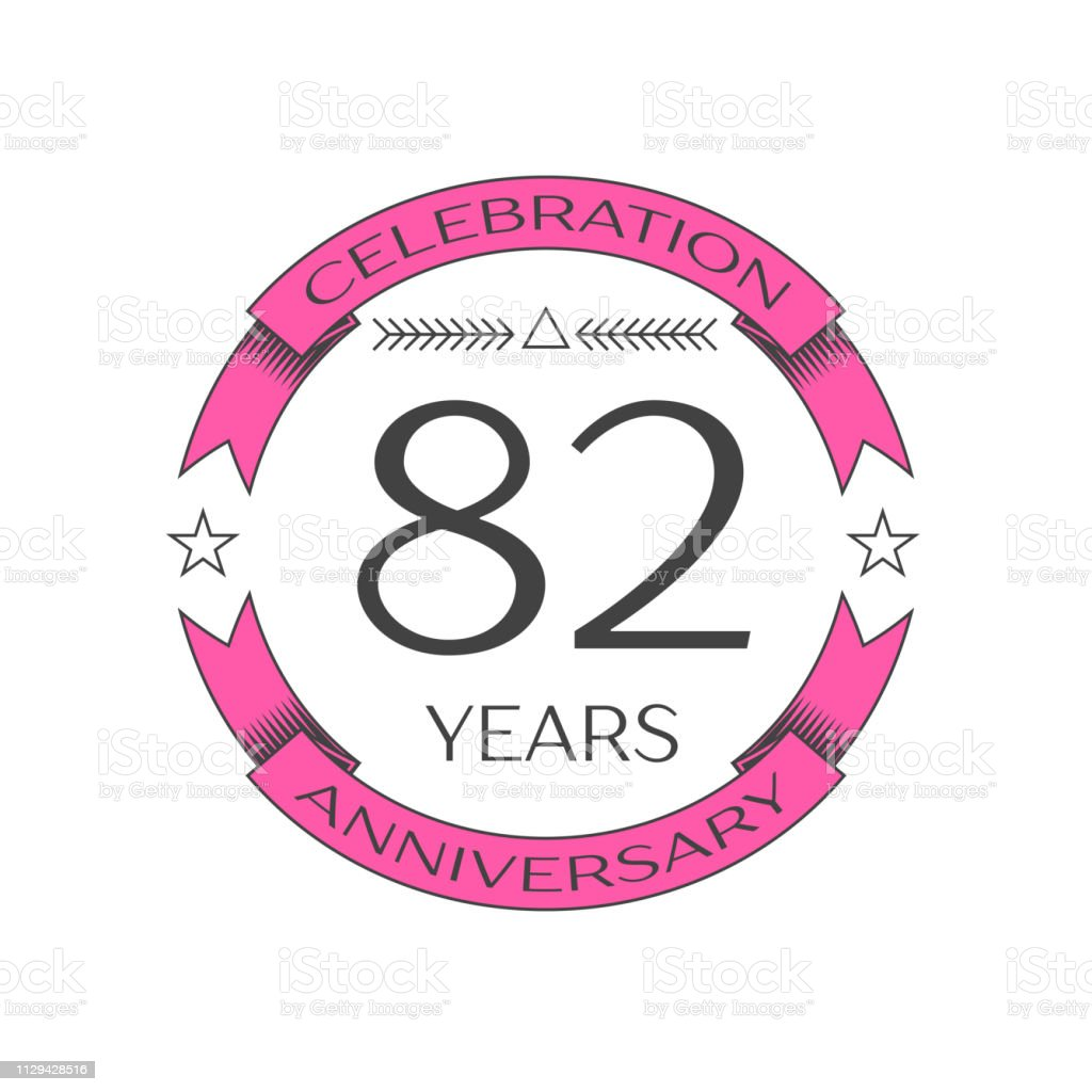 Realistic eighty two years anniversary celebration with ring and ribbon on white background. Vector template for your design vector art illustration