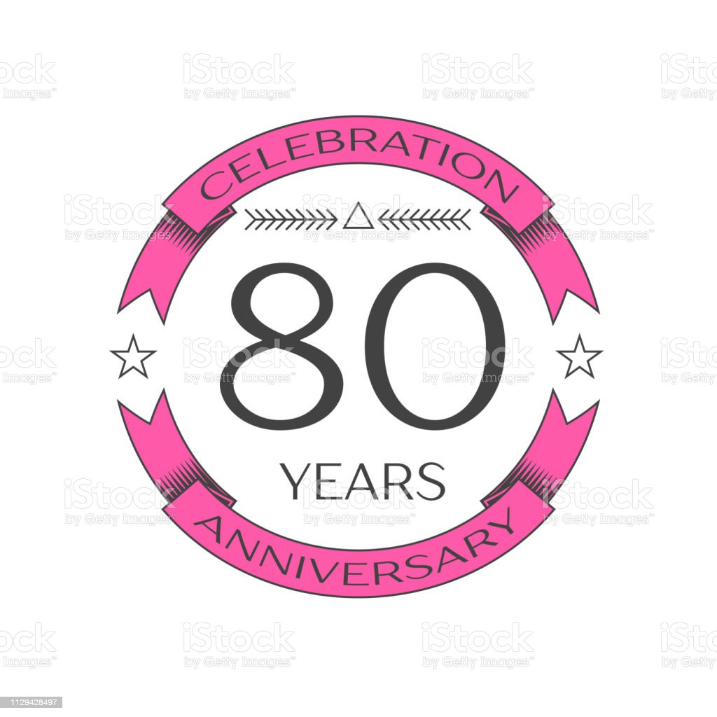 Realistic eighty years anniversary celebration with ring and ribbon on white background. Vector template for your design vector art illustration
