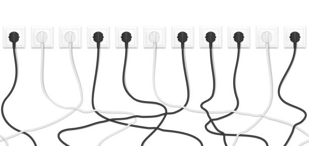 Realistic electric white socket with connected white and black plugs. Seamless vector tangled wires background. Realistic electric white socket with connected white and black plugs. Seamless vector tangled wires background cable stock illustrations