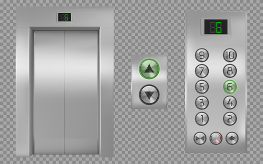 Realistic elevator cabin with closed doors, lift