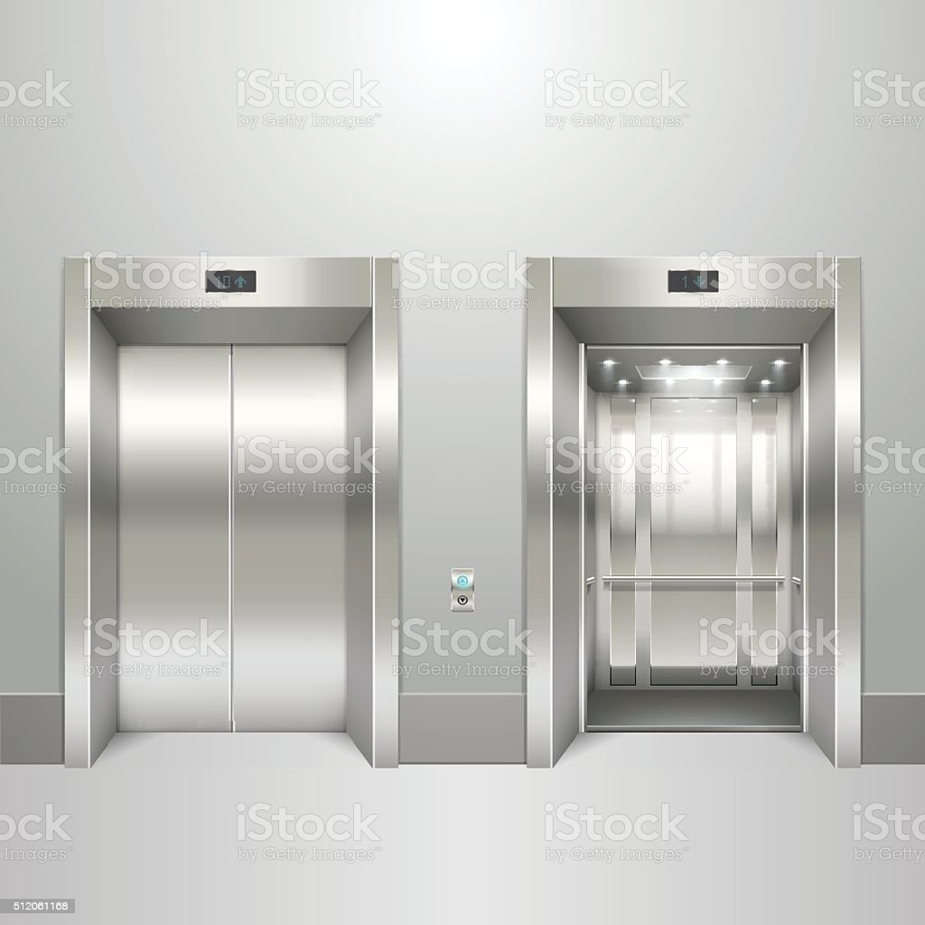Realistic elevator open and closed doors vector art illustration