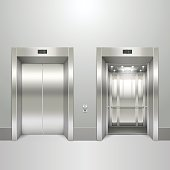 Realistic elevator open and closed doors