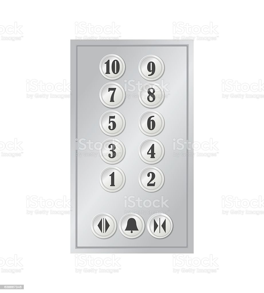 Realistic Elevator or Lift Buttons. Vector vector art illustration