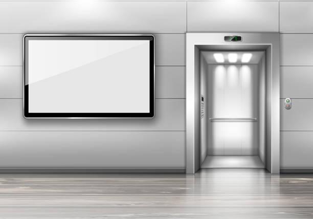 illustrations, cliparts, dessins animés et icônes de ascenseur réaliste avec porte ouverte et écran de tv - hall d'accueil