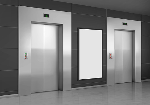 Realistic elevators with close door and ad poster