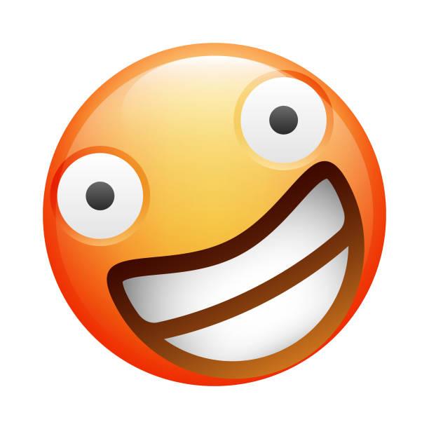 ilustraciones, imágenes clip art, dibujos animados e iconos de stock de emoji realista - emoji emocionado