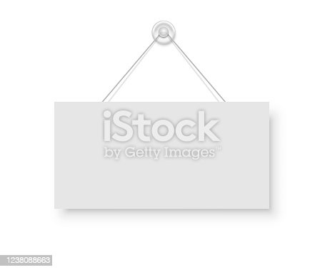 istock Realistic empty blank signboard white rectangle hanged on suction cup. Round shape sign frame template hanging on wall. Price tag mockup. Advertisement, promotion isolated on white background. 1238088663
