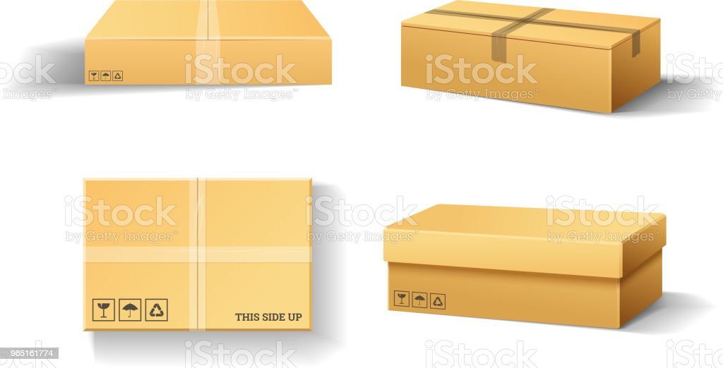 Realistic empty cardboard box Opened. Brown delivery. Carton package with fragile sign on transparent white background. Set of isolated mockup for web. Container for shipping, transportation and mail royalty-free realistic empty cardboard box opened brown delivery carton package with fragile sign on transparent white background set of isolated mockup for web container for shipping transportation and mail stock vector art & more images of computer graphic