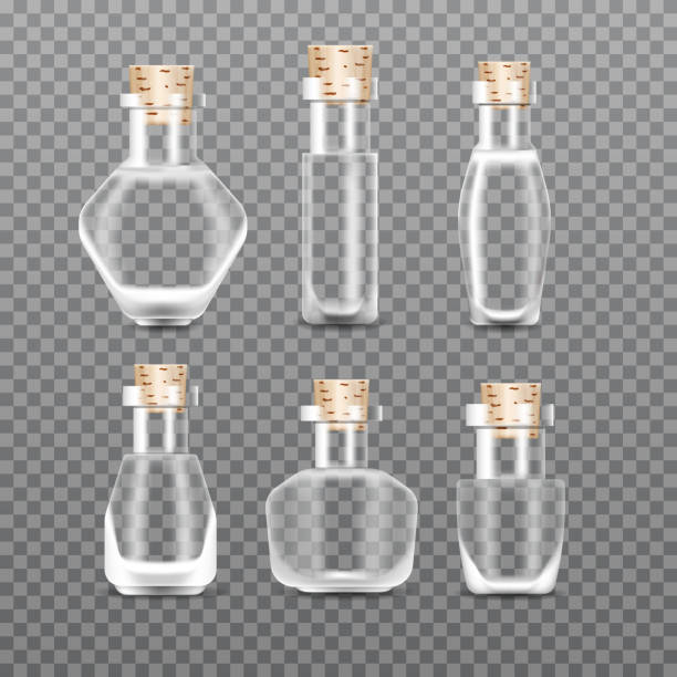 Realistic empty Chemistry glass bottles of potion set. Love potion. Vector illustration. vector art illustration