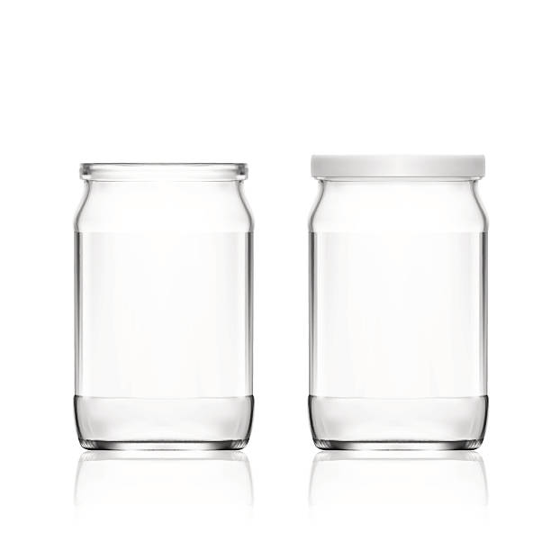 Realistic Empty Glass Jar Isolated On White Background vector art illustration