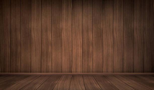 Realistisch leerer Innenraum des Holzzimmers – Vektorgrafik