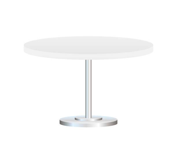stockillustraties, clipart, cartoons en iconen met realistische lege ronde tafel met metalen stand geïsoleerd op witte achtergrond. vector voorraad illustratie. - tafel restaurant top