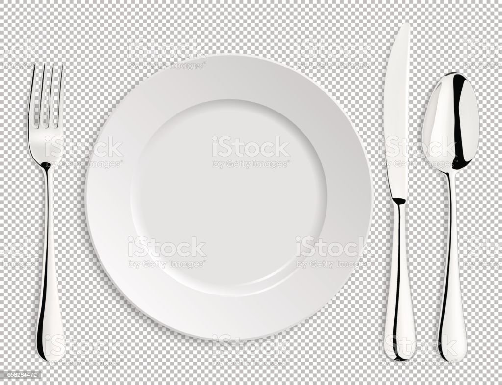 Realistic empty vector plate with spoon, knife and fork isolated. Design template in EPS10 vector art illustration