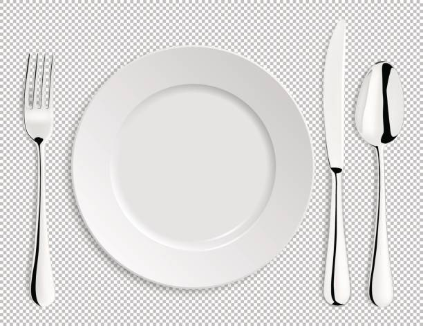 illustrazioni stock, clip art, cartoni animati e icone di tendenza di realistic empty vector plate with spoon, knife and fork isolated. design template in eps10 - coltello posate