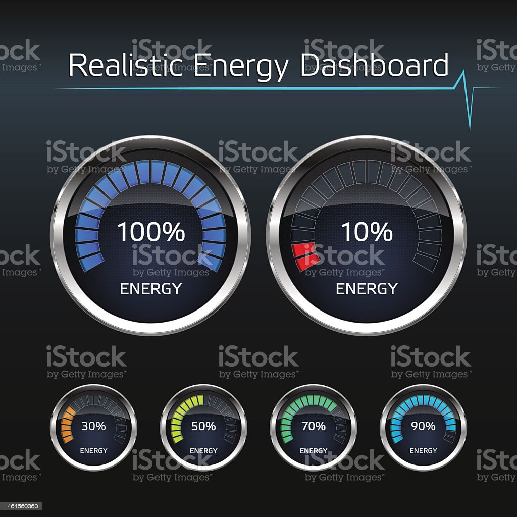 Realistic Energy Dashboard vector art illustration
