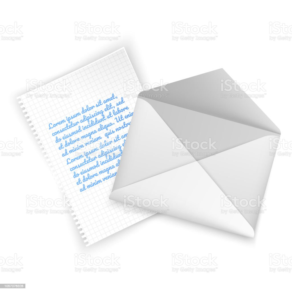 Realistic Envelope Of White Color Open Envelope With Letter On White