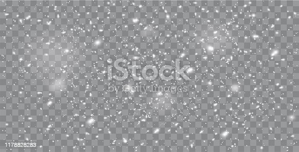 istock Realistic falling snow or snowflakes. Isolated on transparent background - stock vector. 1178828283