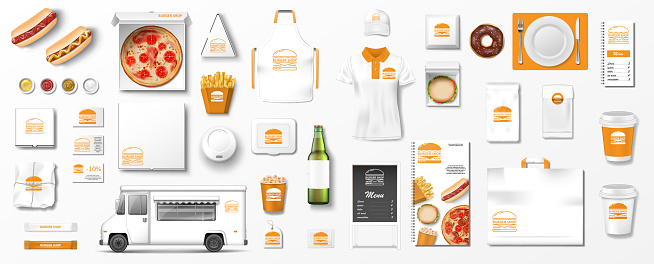 Realistic fast food mockup set, top view for restaurant or cafe menu. Fast food template Isolated hamburger, pizza, popcorn, delivery truck, beer, paper package. Vector