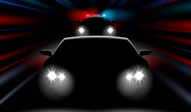 stockillustraties, clipart, cartoons en iconen met realistische snel politiewagen jaagt de auto - mist donker auto