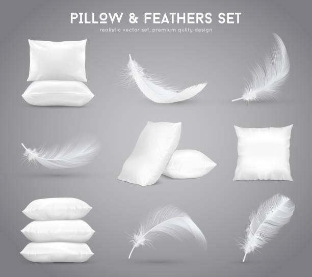 ilustrações de stock, clip art, desenhos animados e ícones de realistic feathers pillows set - pena de pássaro algodão