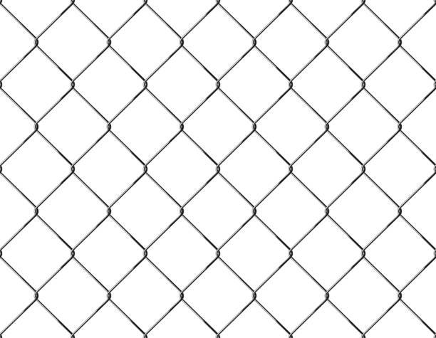 stockillustraties, clipart, cartoons en iconen met realistische hek rabitz patroon. naadloze verbinding van beschermende raster.  vector rabitz raster. robuuste, moderne verchroomd draad. - mma