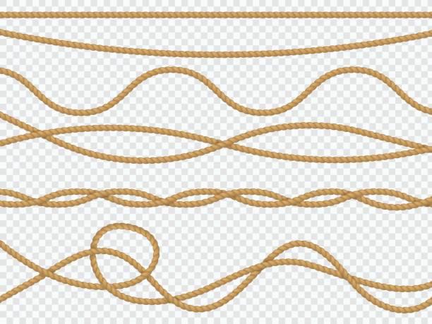 stockillustraties, clipart, cartoons en iconen met realistische vezelkabels. curve touw nautische koord rechte lasso mariene grens bruin jute touw natuurlijke gebonden packthread. vector decor - touw