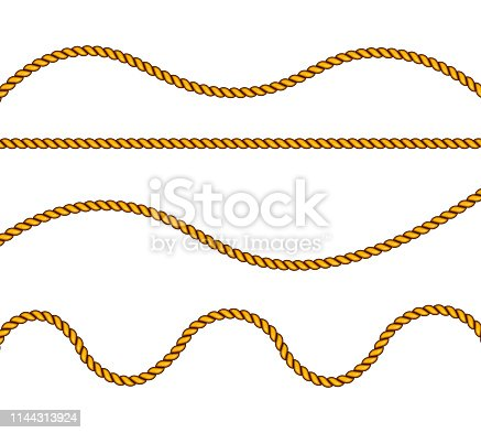 Realistic fiber ropes. Military fleet, sailing on ship, boat, ship. Vector illustration. Decorative elements with brown packthread. Vector illustration.