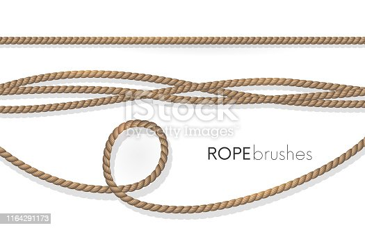 Realistic fiber ropes. Rope brushes .Jute twisted cords with loops isolated on white background. Decorative elements with brown packthread.vector