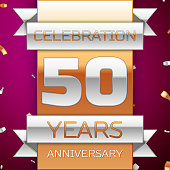 Realistic Fifty 50 Years Anniversary Celebration Design. Silver and golden ribbon, confetti on purple background. Colorful Vector template elements for your birthday party. Anniversary ribbon