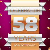 Realistic Fifty eight 58 Years Anniversary Celebration Design. Silver and gold ribbon, confetti on purple background. Colorful Vector template elements for your birthday party. Anniversary ribbon