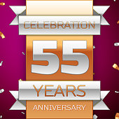 Realistic Fifty five 55 Years Anniversary Celebration Design. Silver and gold ribbon, confetti on purple background. Colorful Vector template elements for your birthday party. Anniversary ribbon