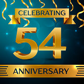 Realistic Fifty four Years Anniversary Celebration Design. Golden confetti and gold ribbon on blue background. Colorful Vector template elements for your birthday party