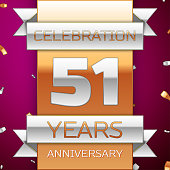Realistic Fifty one 51 Years Anniversary Celebration Design. Silver and gold ribbon, confetti on purple background. Colorful Vector template elements for your birthday party. Anniversary ribbon