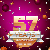 Realistic Fifty seven 57 Years Anniversary Celebration Design. Golden numbers and silver ribbon, confetti on purple background. Colorful Vector template elements for your birthday party