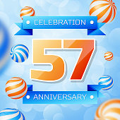 Realistic Fifty seven Years Anniversary Celebration design banner. Gold numbers and blue ribbons, balloons on blue background. Colorful Vector template elements for your birthday party