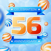 Realistic Fifty six Years Anniversary Celebration design banner. Gold numbers and blue ribbons, balloons on blue background. Colorful Vector template elements for your birthday party