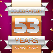 Realistic Fifty three 53 Years Anniversary Celebration Design. Silver and gold ribbon, confetti on purple background. Colorful Vector template elements for your birthday party. Anniversary ribbon