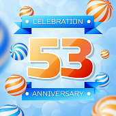 Realistic Fifty three Years Anniversary Celebration design banner. Gold numbers and blue ribbons, balloons on blue background. Colorful Vector template elements for your birthday party