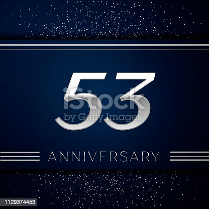 Realistic Fifty three Years Anniversary Celebration. Silver numbers and silver confetti on blue background. Colorful Vector template elements for your birthday party