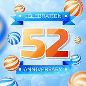 Realistic Fifty two Years Anniversary Celebration design banner. Gold numbers and blue ribbons, balloons on blue background. Colorful Vector template elements for your birthday party