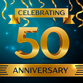 Realistic Fifty Years Anniversary Celebration Design. Golden confetti and gold ribbon on blue background. Colorful Vector template elements for your birthday party