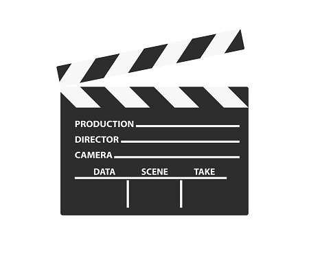 Realistic film clapper sign. Simple icon or logo isolated on white background. Flat style vector illustration.