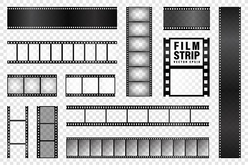 Realistic film strips collection. Old retro cinema movie strip. Vector illustration. Video recording