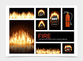 Realistic fire composition with hot fiery sale emblems flame blaze and fire extinguisher vector illustration