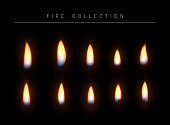 Realistic fire flame isolated light effect. Open yellow fire gas. Bright red magic realistic. gold  flame. fire flame