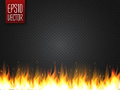 Realistic fire flame vector special effect isolated on dark transparent background.